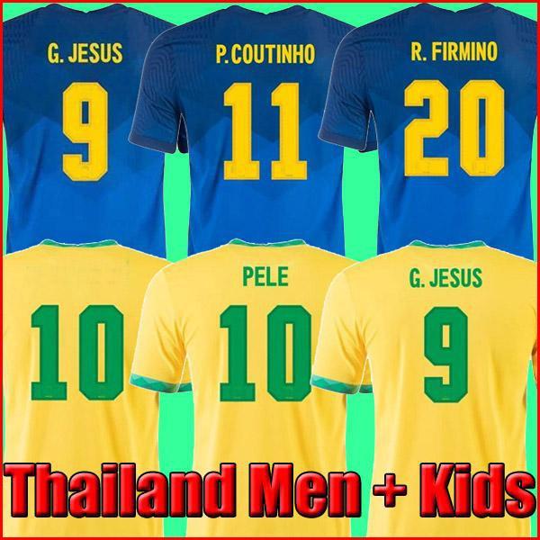 2021 البرازيل Camiseta de Futbol Paqueta Neres Coutinho Football Shirt Top Firmino Jesus Soccer Jerseys Marcelo Pele Brasil 20 21 Mailleot de Foot