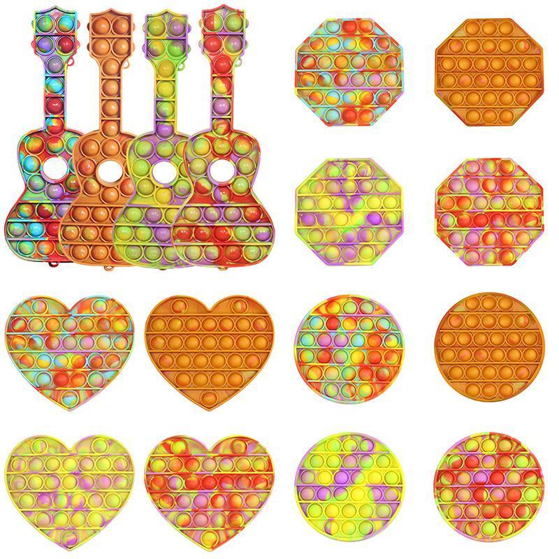 DHL 24h Schiff Stock Krawatte-Färbung Push Dekompression Spielzeug Farbe Wasserzeichen Push Bubble Sensorische Autismus Stress Reliever Squeeze Sensory Spielzeug für Kinder BJ28