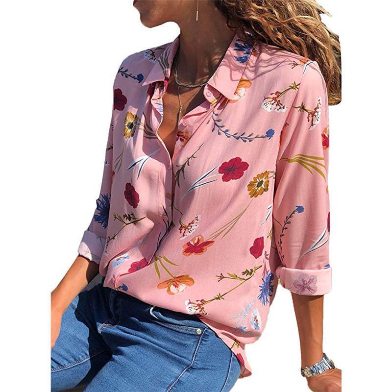 Frauen blusen shirts frauen bluse umdrehen kragen langarm blume druck muster frühling herbst kleidung lose typ bunte mädchen