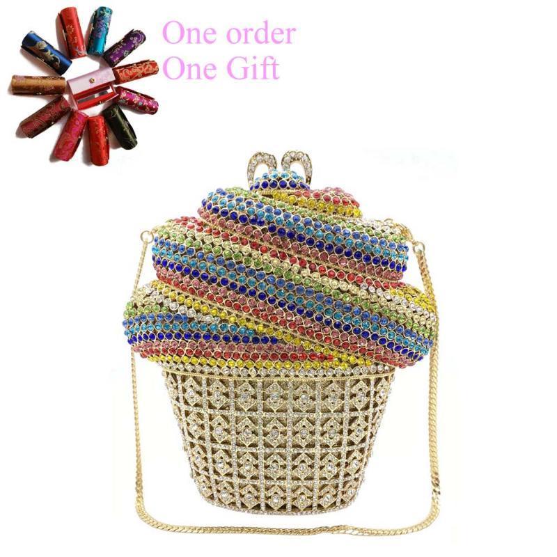 Evening Bags Arrival Ice Cream Crystal Purse For Woman Rhinestone Clutch Cupcake Summer Holiday Bag Metal Chain Handbag