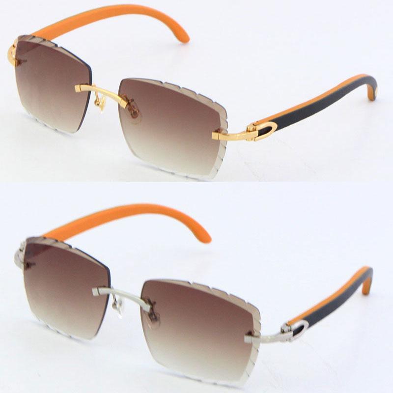 새로운 무선 원래 나무 C 장식 빈티지 럭셔리 선글라스 스퀘어 셰이프 얼굴 조각 렌즈 유니섹스 운전 안경 18K 골드 금속 프레임 안경 남성과 여성
