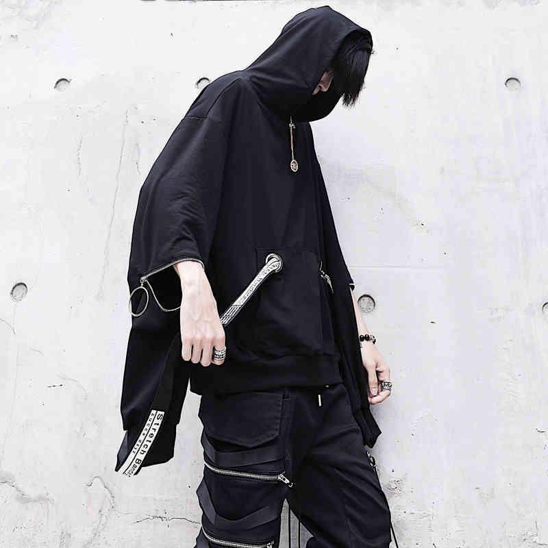 Benzersiz erkek Siyah Kapüşonlu Tişörtü Boy Şerit Moda Hoodies Erkek Hip Hop Streetwear Baggy Techwear Kazak Tops Adam