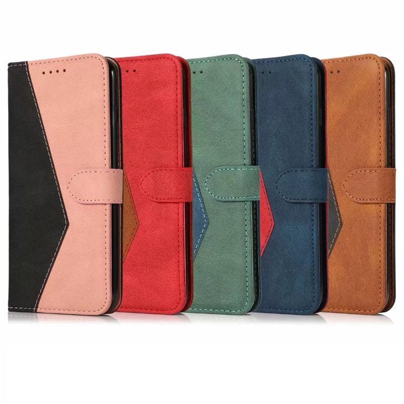 Casse à portefeuille en cuir de couleur de mode pour iPhone 13 Pro Max 12 mini 11 xR xs x 8 7 Plus Géométrique HIT MAGNETIC HIT HYBRID Credit Credit Credit Slot Porte-coque retour