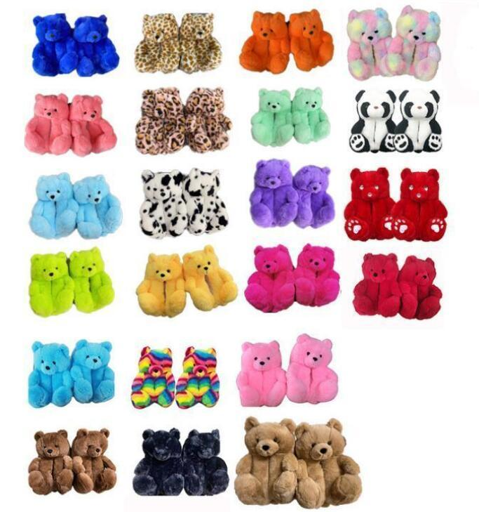 1 par = 2 piezas 18 estilos de peluche oso de peluche zapatillas marrón mujeres en casa interior suave antideslizante faux piel lindo mullido rosa leopardo zapatillas mujer invierno caliente zapato