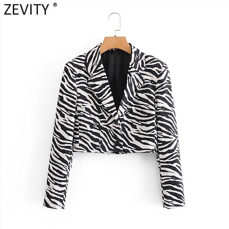 Donne vintage Black Black Bianco Zebra Stripe Stampa Chic Breve Blazer Ufficio Signore Breasted Casual Outwear Suit Top Top CT640 210420