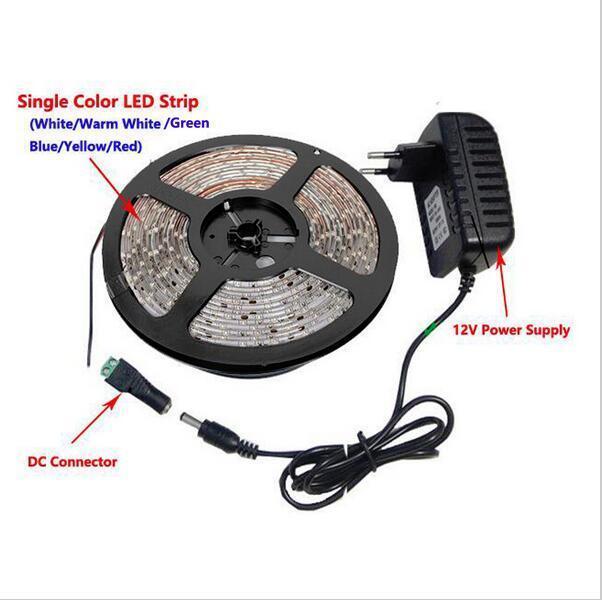미터 300LEDS 비 방수 RGB LED 스트립 라이트 2835 DC12V 60LEDS / M 유연한 조명 리본 테이프 흰색 / 따뜻한 흰색 / 파란색 스트립