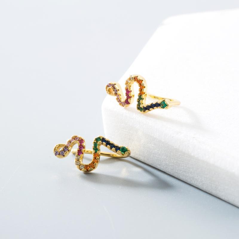 Clip-on schraube zurück 2021 design klassische kupferbolzen ohrringe gold farbe cz schlange regenbogen zirkon piercing schmuck für frau