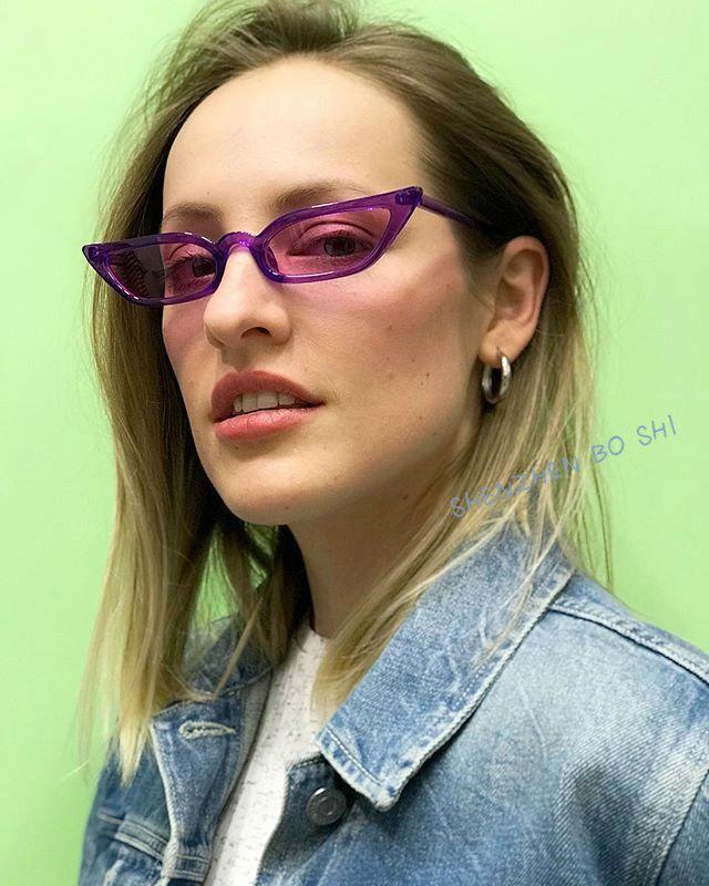 2021 gafas de sol mujeres fresco tamaño pequeño triángulo marco gato ojo remache vintage púrpura sol gafas de sol marca de diseño GAFAS UV400