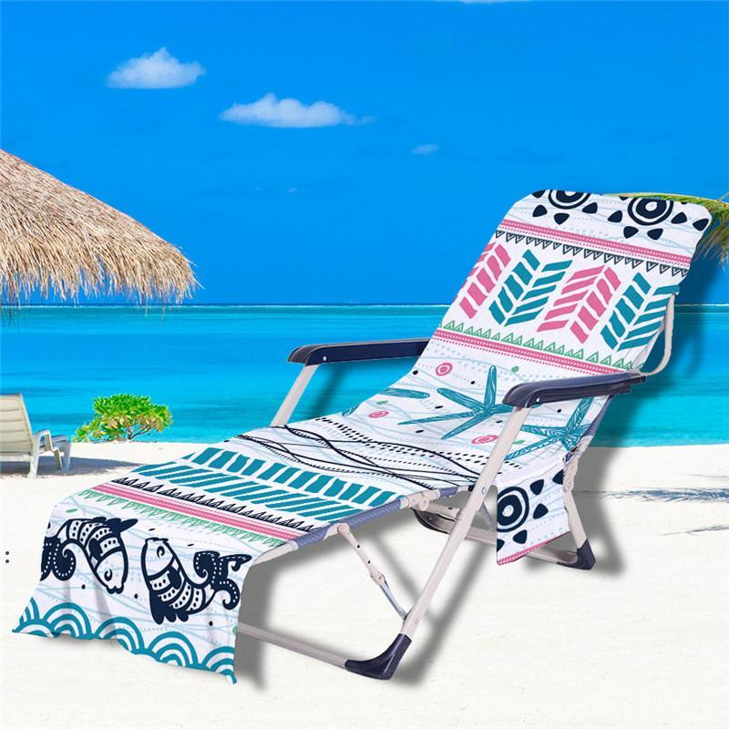 Beach Chair Cover Mandala Pattern Pool Lounge Chaise Towel Sun Lounges Covers with Side Storage Pockets CCD8509