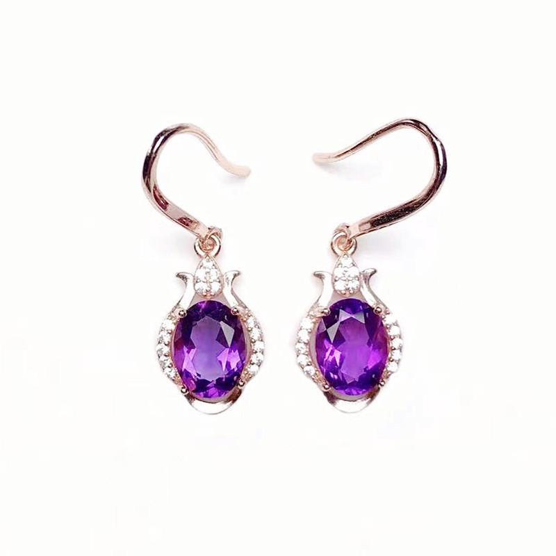 Dangle & Chandelier Natural Real Amethyst Drop Earring 6*8mm 1.3ct*2pcs Gemstone 925 Sterling Silver Fine Jewelry X218294