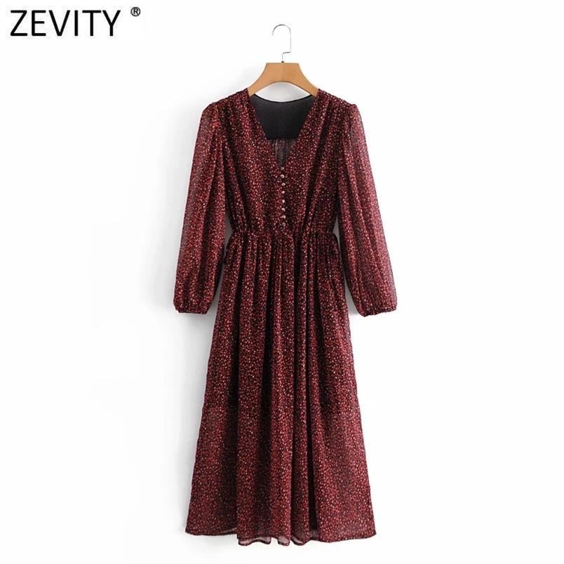 Donne vintage con scollo a V Pieghe a maniche a soffio Leopardo Stampa Leopardo Midi Dress Dress Lady Striped Casual Slim Retro Party Vestido DS4730 210420