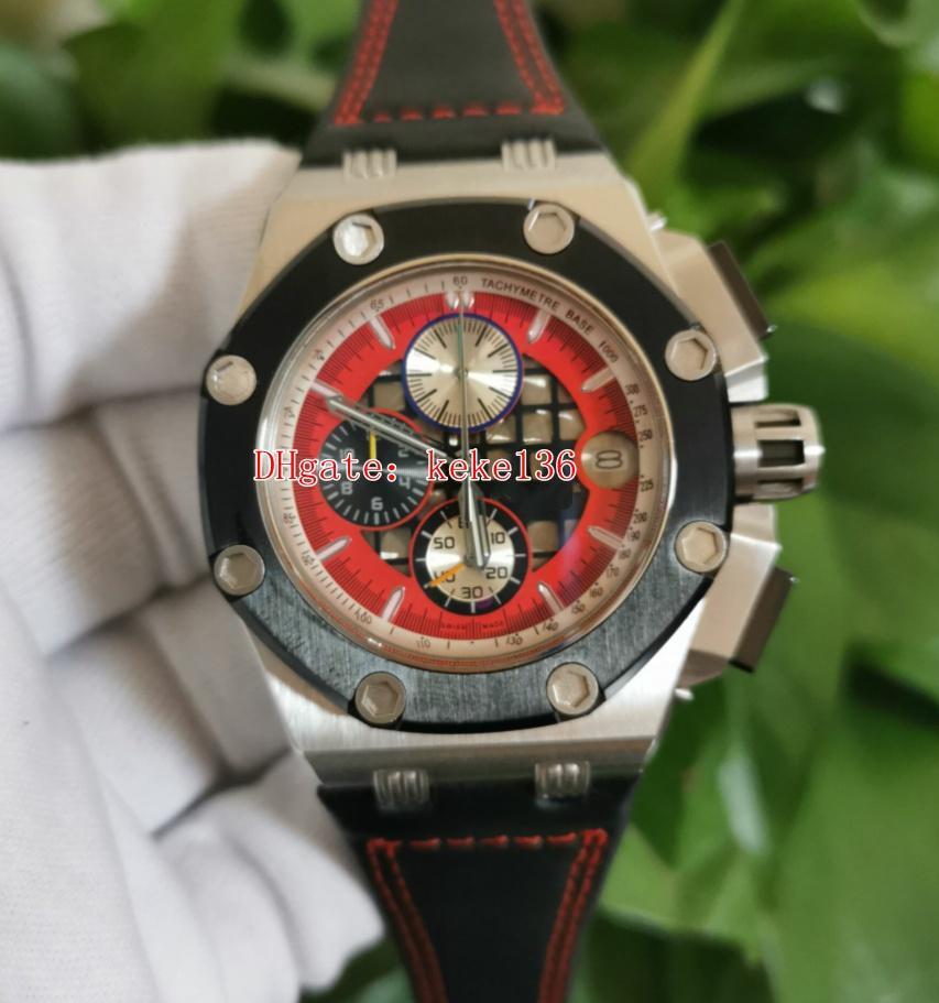 Moda hombres relojes de pulsera Red Dial 26284ro.oo.d002cr.01 26284 42mm Strap de cuero de cocodrilo de acero VK Cronógrafo de cuarzo Trabajo Mens Reloj relojes