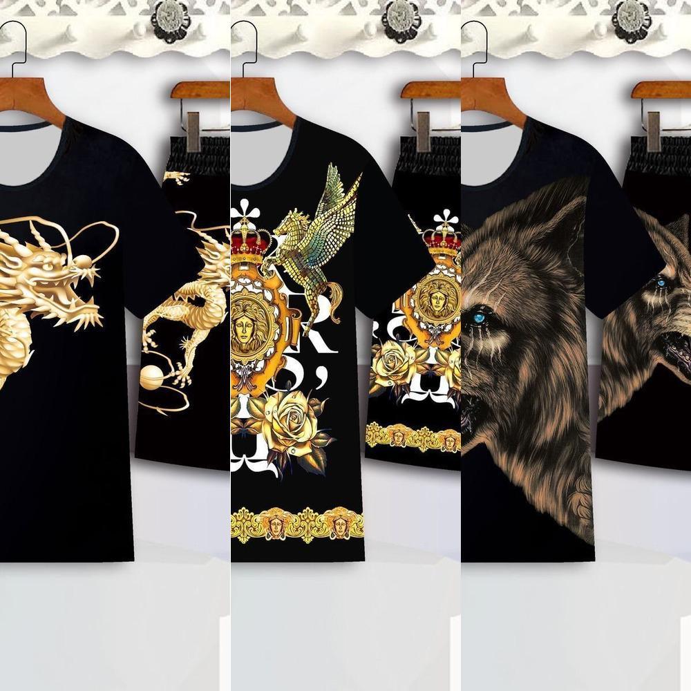 Anzug Herren Kurzärmelige T-Shirt Sommer Flut Marke 2020 Neue Lose Trendkleidung Eine Reihe von hübscher Sommerkleidung Tide X0601