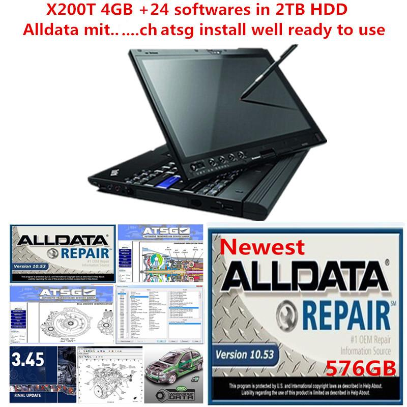 2021 Hot sell All Data Soft-ware alldata 10.53 Mit ATSG 2TB HDD installed well in x200t Iaptop touchscreen