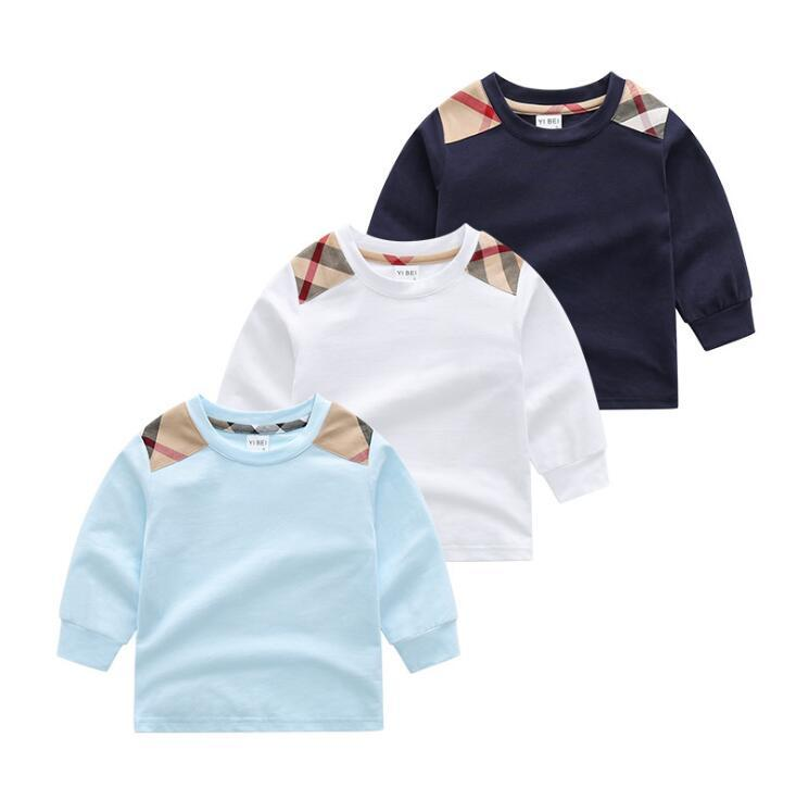 Frühling Herbst Baby Jungen Mädchen T-shirts Mode Kids Langarm Kariertes T-shirt Childern 100% Baumwolle Beiläufige Hemd Kind Pullover Mädchen Sweatshirt