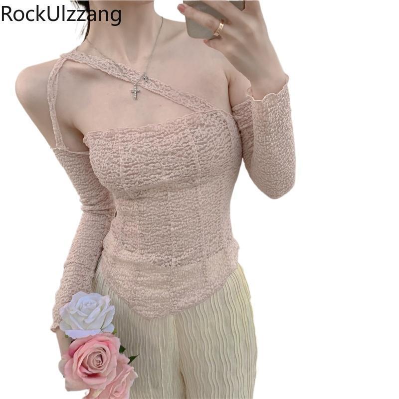 Manica lunga spalla spalla tracolla irregolare cinturino t-shirt pizzo carino maglietta sexy sexy maglietta coreana moda tee top elegante vestiti da donna