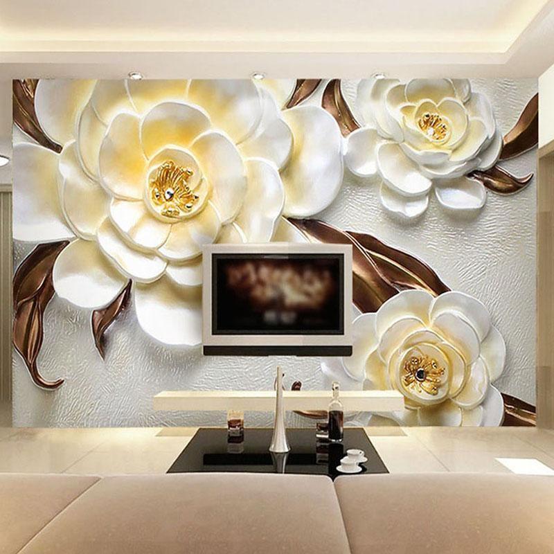 Wallpapers Pano de parede personalizado 3D em relevo Bela flor Popa Papel de Parede Sala de estar TV Sofá Cenário cobrindo Papéis de decoração para casa