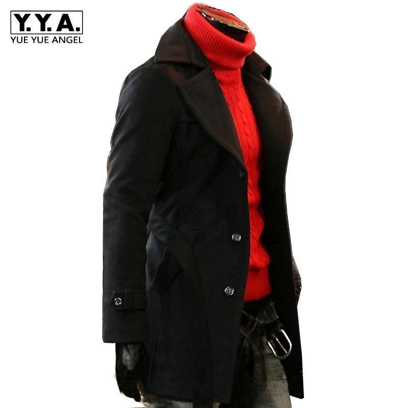 Uomini invernali ispessimento caldo Cashmere Trench Cappotto Asciugami monopetto Single-Breasted Tasche di risvolto Mid-length Giacche Slim Blend casual Street Blend
