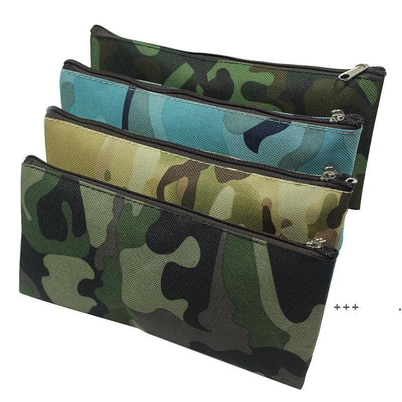 Камуфляжный карандашный чехол Портативный холст Большая емкость Косметическая сумка Многофункциональные канцтовары Сумки для хранения 19 * 9,5 см EWB9983