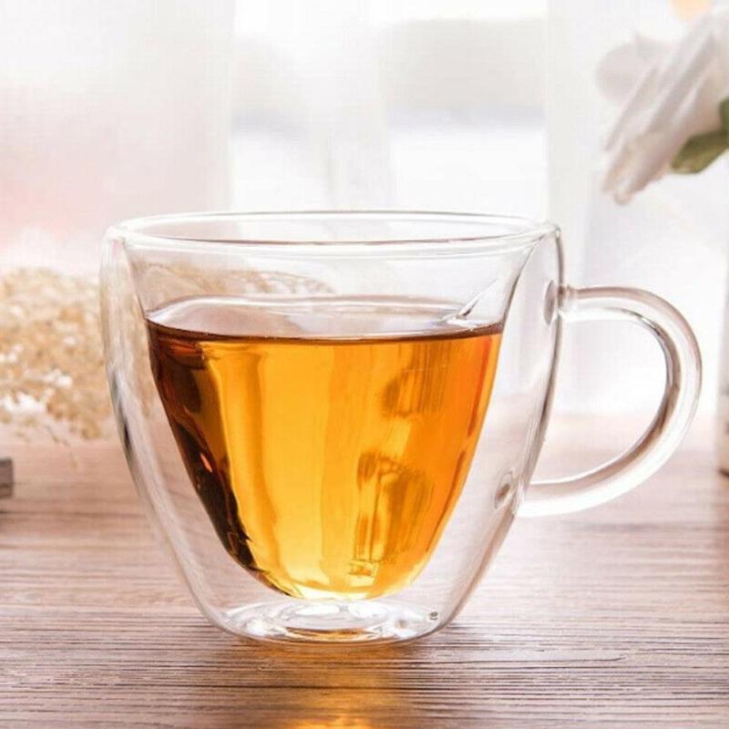 심장 모양의 내열성 이중 벽 투명 투명 미니 1pcs 레이어 차 유리 수제 컵 머그잔 커피 MU D7G1 와인 안경