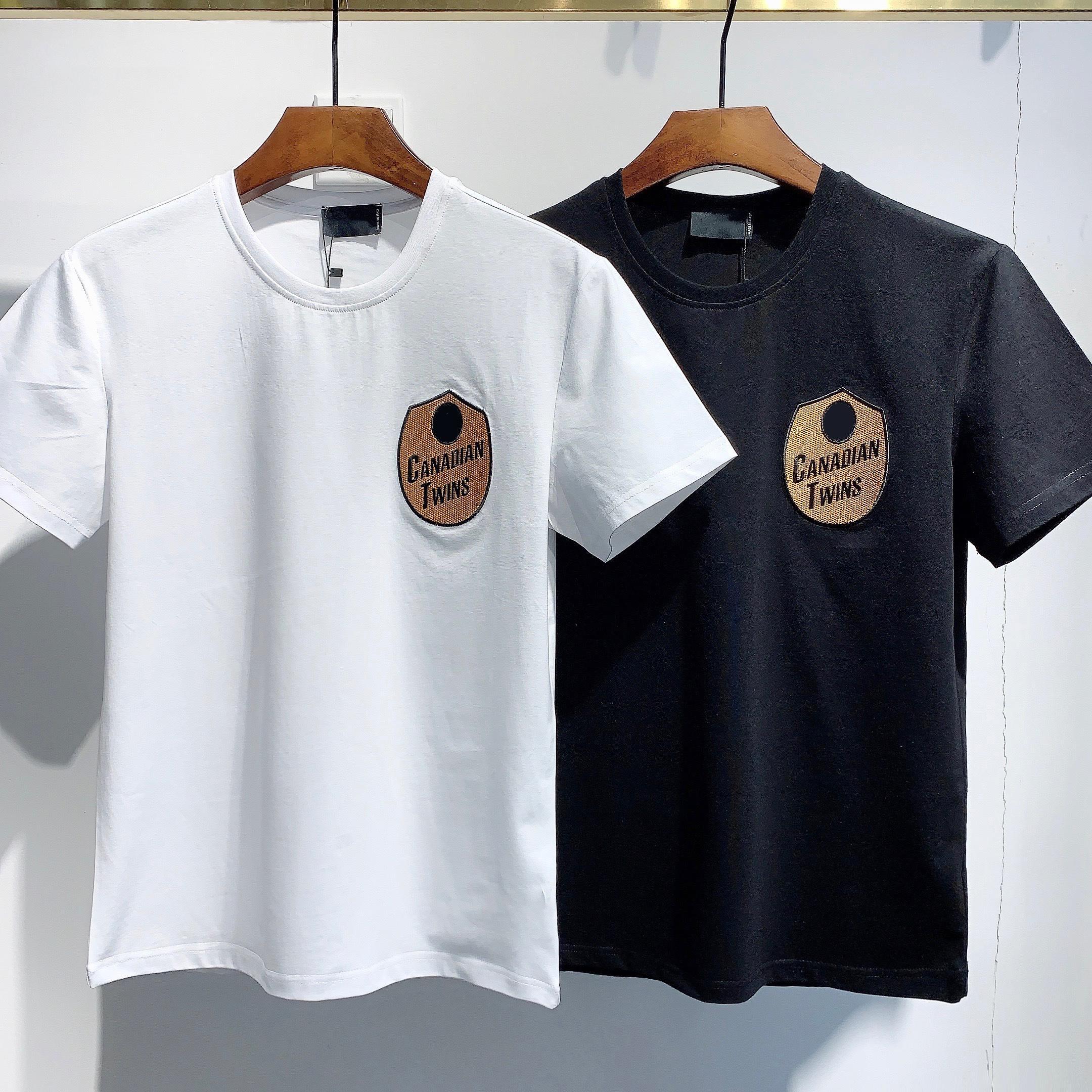 2021 패션 아이콘 디자이너 남성 여성 T 셔츠 # DT050 여름 클래식 메이플 잎 티 필수품 흰색 편지 인쇄 캐주얼 의류