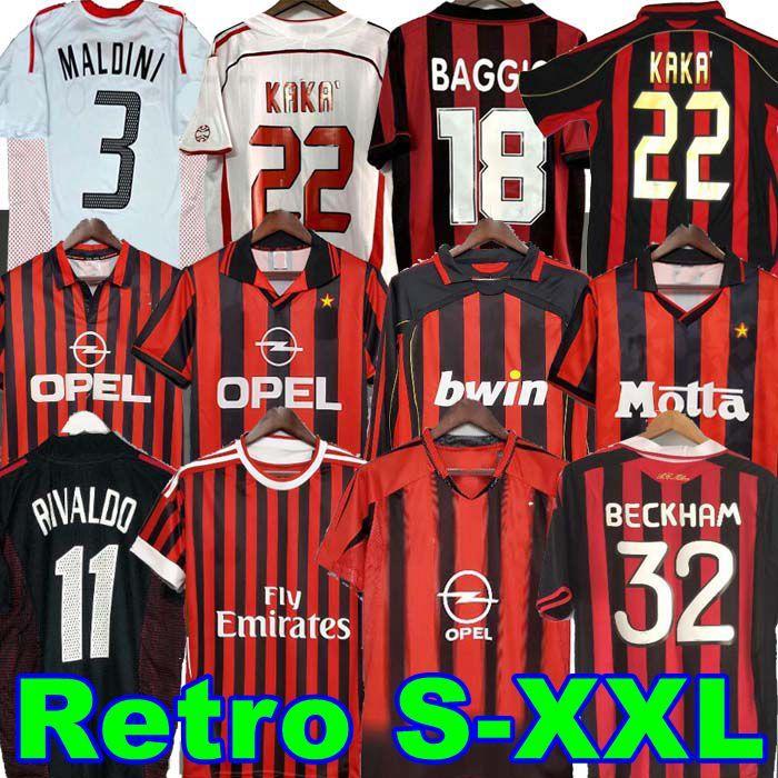 Retro Shirts Home 96 97 99 Gullit Soccer Jersey 02 03 04 04 05 05 05 Maldini Van Basten Football Ronaldo Kaka Inzaghi AC 06 07 ميلان 09 10 Rivaldo Shevchenko Baresi Nesta Sedorf