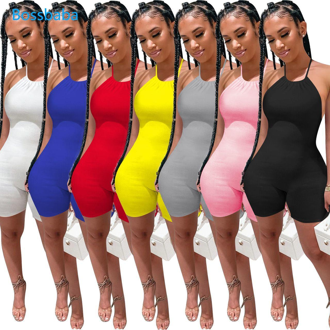 Women Jumpsuits Designer U-neck Summer Style Hanging Neck Shorts Pants Fashion Strapping Rib Open Back Sexy Slim Rompers 835
