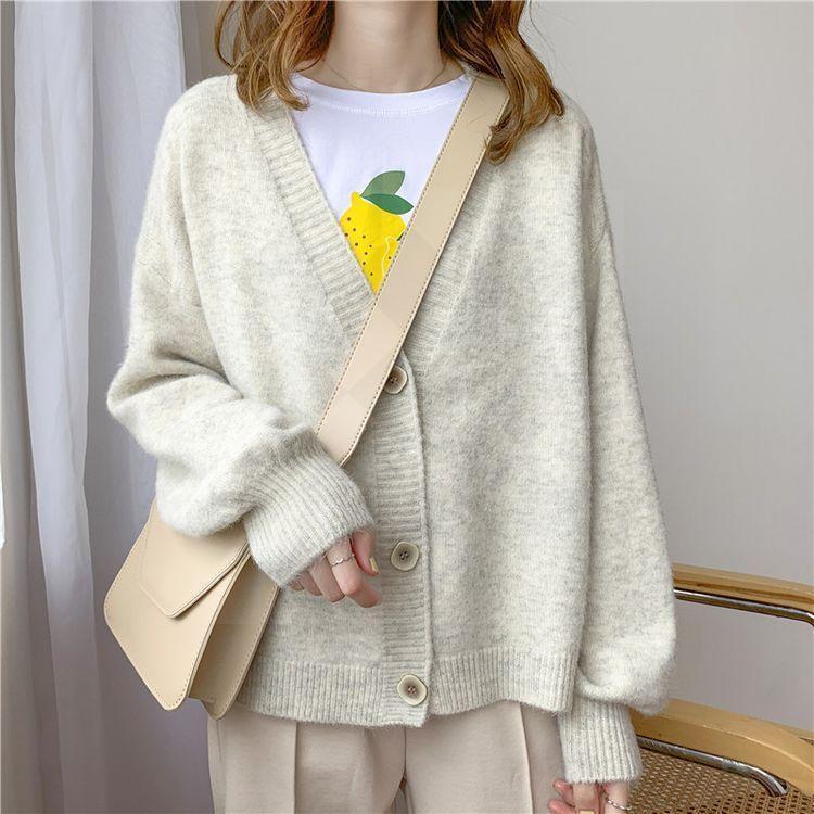 가을 겨울 여성 스웨터 카디건 대형 V 목 사무실 레이디 니트 outwear 한국어 세련된 탑스 여성의 니트 티