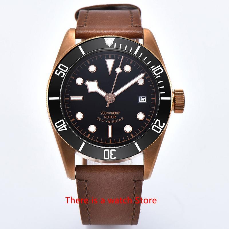 Relógios de pulso corgeut 41mm relógio automático homens militar schwarz baía pulseira de couro pulseira de couro luminosa esporte impermeável nadar mecânico