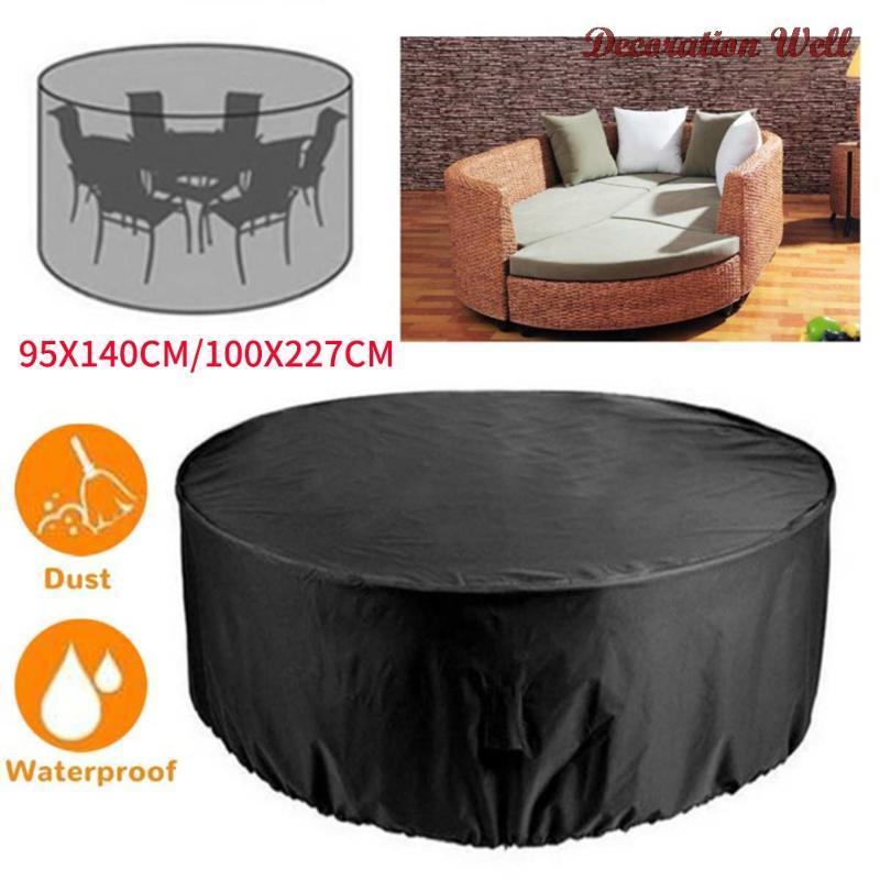 Piezas grandes de mesa negra cubierta de silla redonda al aire libre impermeable muebles de jardín cubiertas 2021