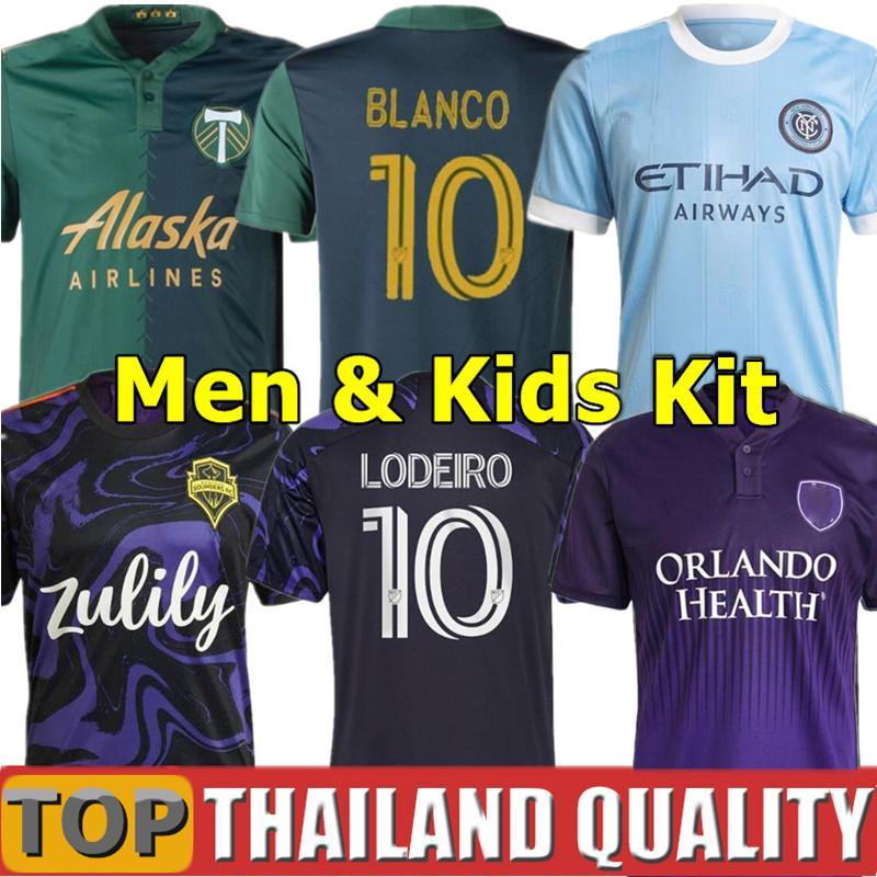 2021 MLS Seattle Sounders Futbol formaları 21 22 New York Şehri 2022 Portland Kereste BLANCO CHARA VALENTIN VALERI Jimi Hendrix Roldan Erkekler çocuk kiti üniforma