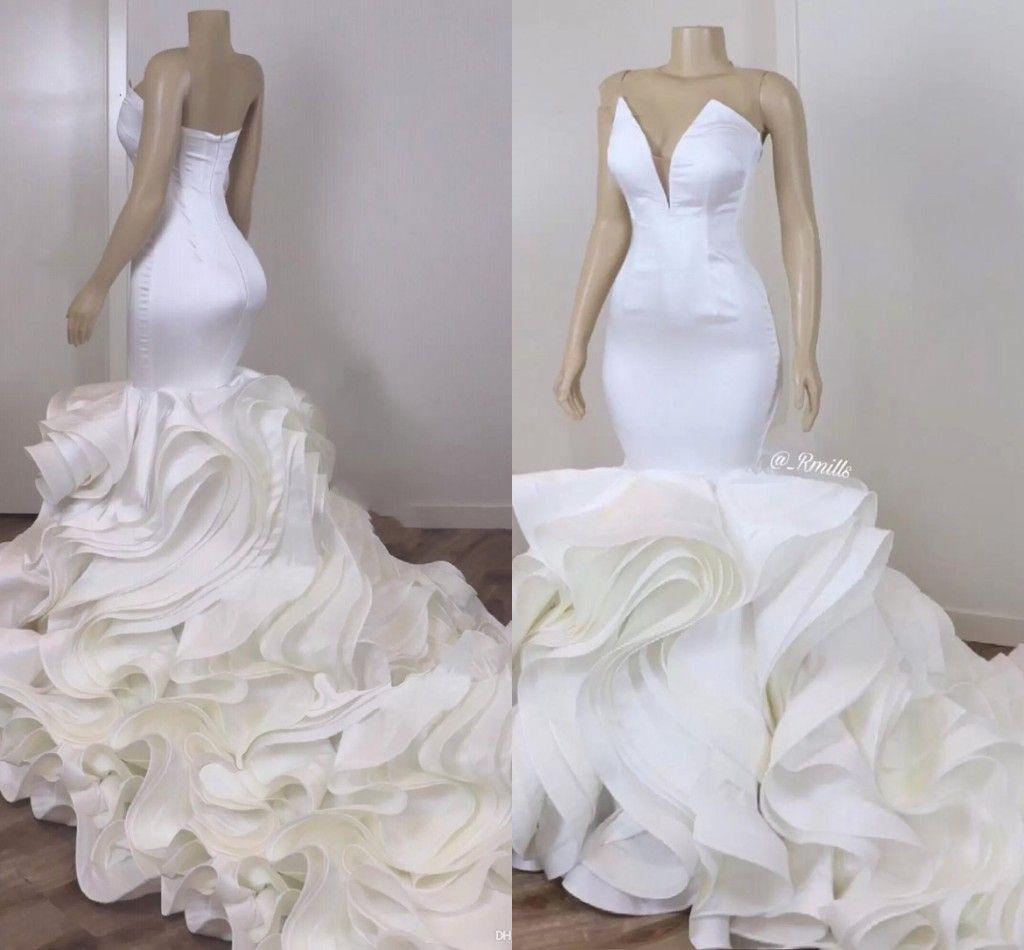 Sexy Sirena Sposa Tromba Abiti da sposa Satin Organza Ruffles Gonna Cattedrale Treno Africano Donne Abiti da sposa bianchi 2021