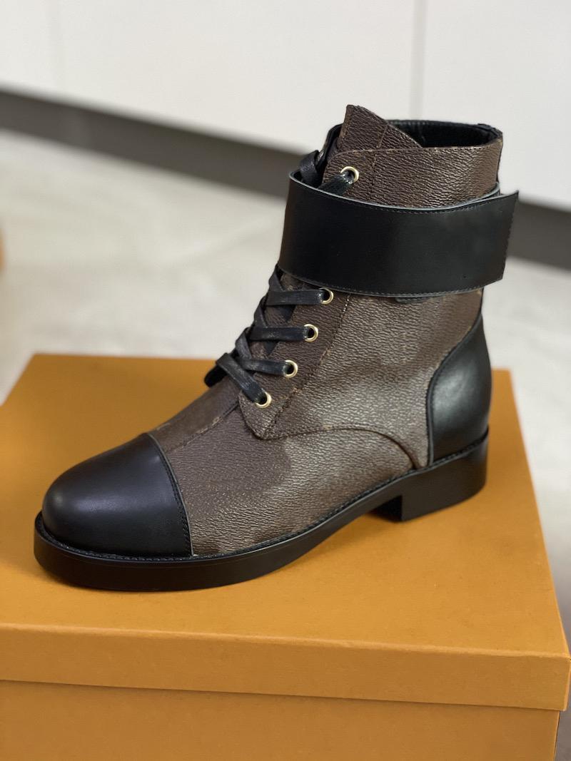 Женские каблуки снежные сапоги кожаные лодыжки ботинок коренастый каблук Martin обувь печатать кожаные платформы пустыни на шнуровке загрузки 5см 10 цветов с коробкой