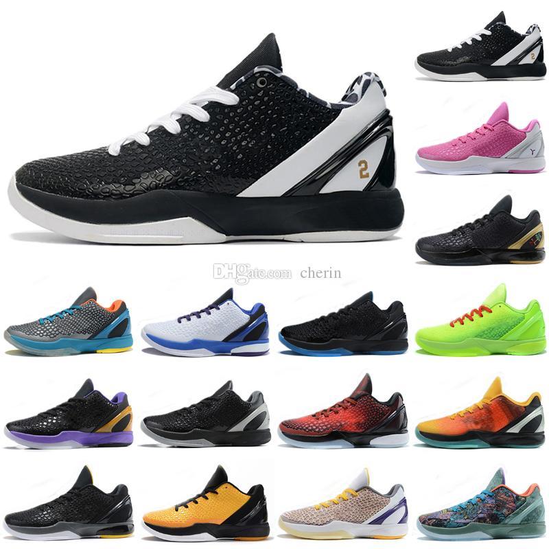 Mamba 6 Protro Grinch Zapatillas de baloncesto VI Hombres Bruce Lee, ¿y si lakers es el chaos grande de la etapa 6s, los anillos metálicos del oro para hombre zapatillas deportivas tamaño 40-46
