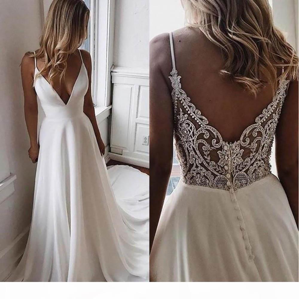 NEW Simple V Neck Chiffon A Line Boho Beach Wedding Dresses Beaded Applique Formal Bridal Gowns Cheap Custom Bride Dress Vestidos De Novia