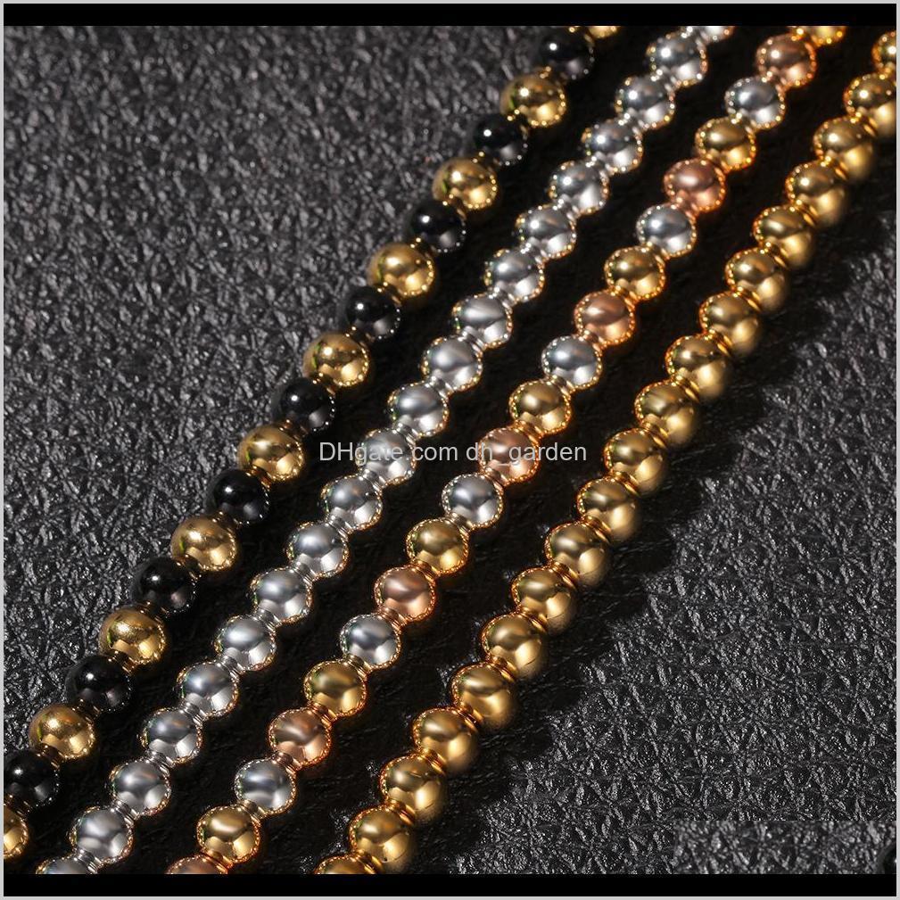 4 мм 6 мм 4 цвета парней классический золотой католицизм бусины бусины ожерелье цепи мужчин и женщин из нержавеющей стали хип-х вершины хмеля ювелирные изделия для rzzky p4x1j