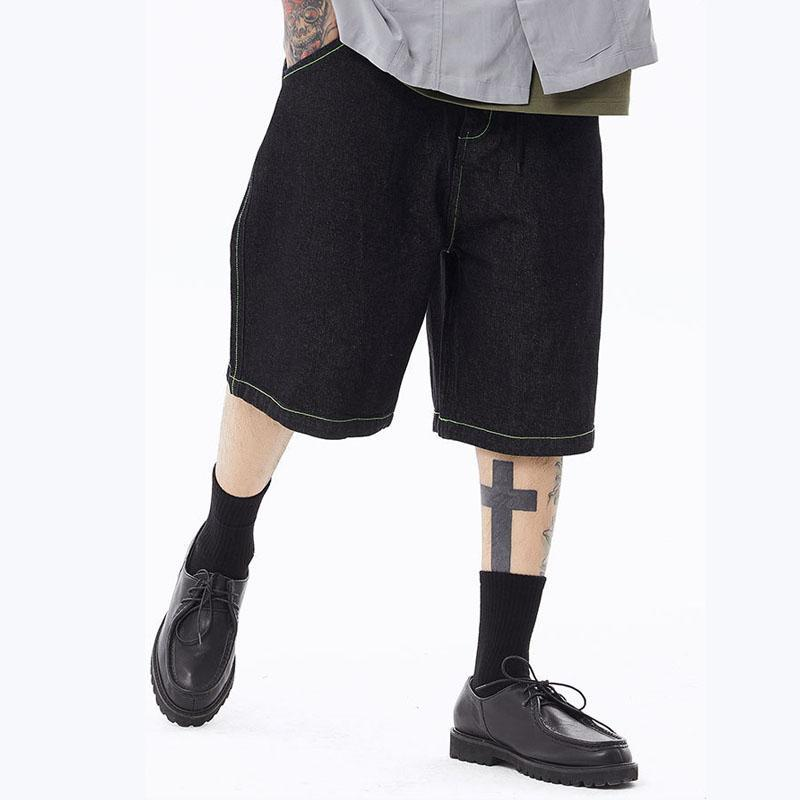 Pantalones cortos para hombres Masculino Japón Corea Streetwear Vintage Jeans Hombres sueltos Casual recto rodilla Longitud Denim Pant