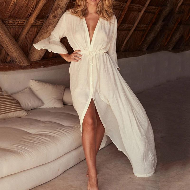 Donne Pure Bianco Bianco Beach Abiti Sexy Lace Up Deep V Collo a V Bottone Donna Oversized Dress Vestito Vacanze Europa Swimwear da donna Europa