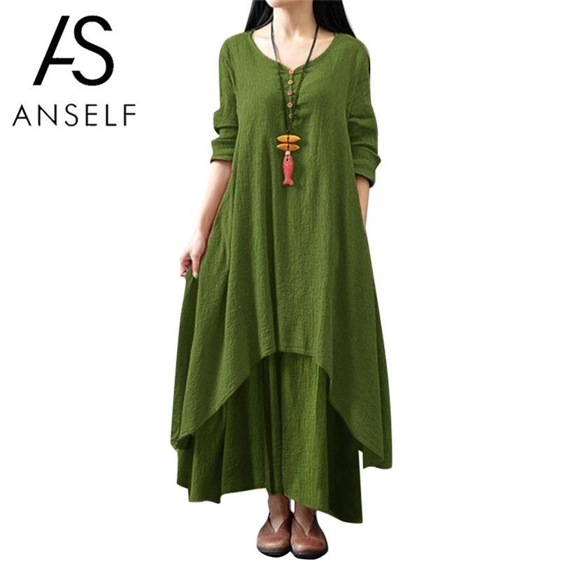 Spring Fashion Femme Femme Casual Robe en vrac Couleur Solide Manches Longues Souris Sous-lit Robes Plus Taille Boho Long Maxi Robe 210806