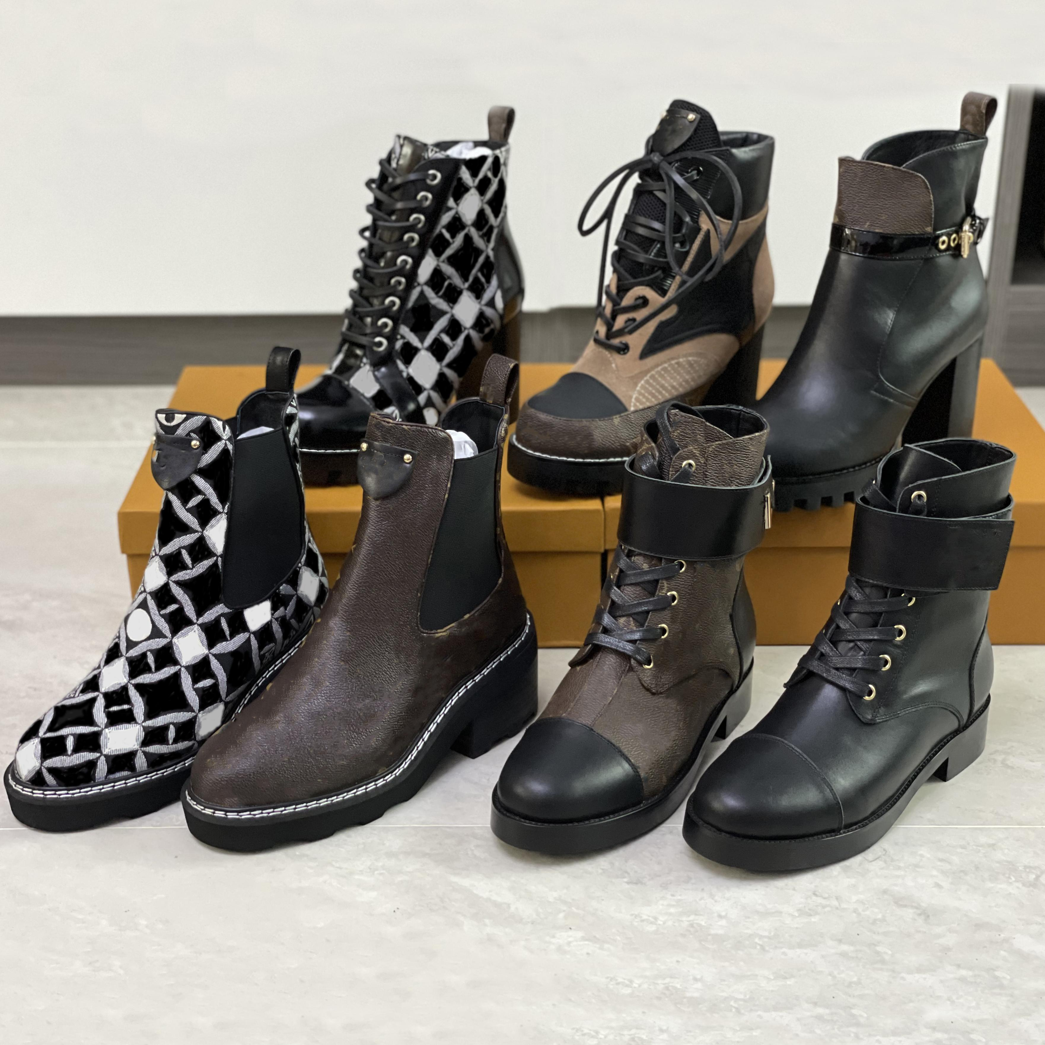 Donne Beaubourg Beaubourg Boot Designer Chelsea Boot Genuine Leather Thick High Tacchi alti Sentieri invernali Stivaletti Caviglia Boot Laureato Stivali Desert Top Quality with Box