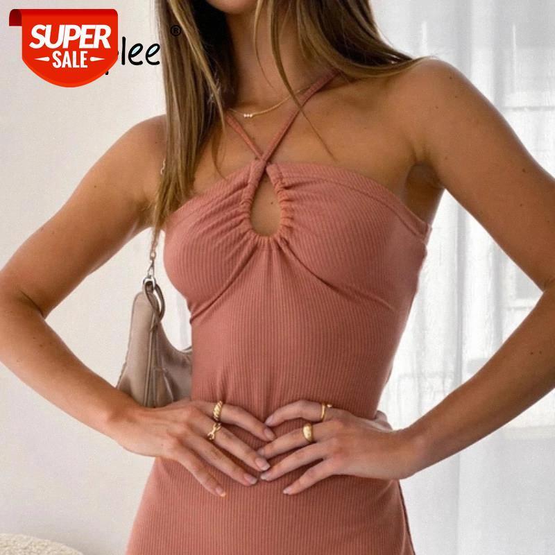 Elbise Seksi Anahtar Delik Örme Halter Yaz Parti Ince Backless Bandaj Kadın Elbiseler Chic Moda Mini High Street # Ja7n