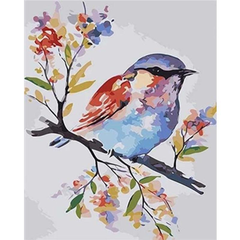 Paintings Painting By Numbers DIY Drop 40x50 60x75cm Cute Color Bird On Tree Branch Canvas Wedding Decoration Art Picture Gift