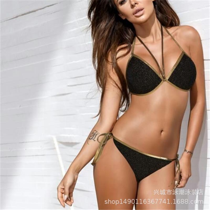 Nuevo bikini sólido sexy bikini caliente de oro malla traje de baño biki