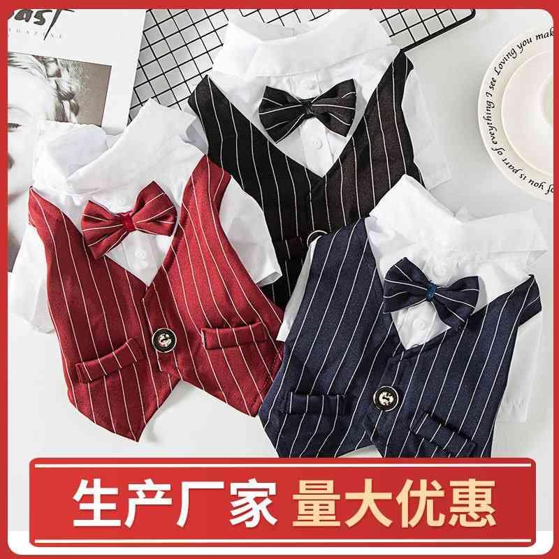 Dog Pet Spring and Summer Thin Teddy Kirky Small Shirt Bow Dress Cat Suit Vest Clothes