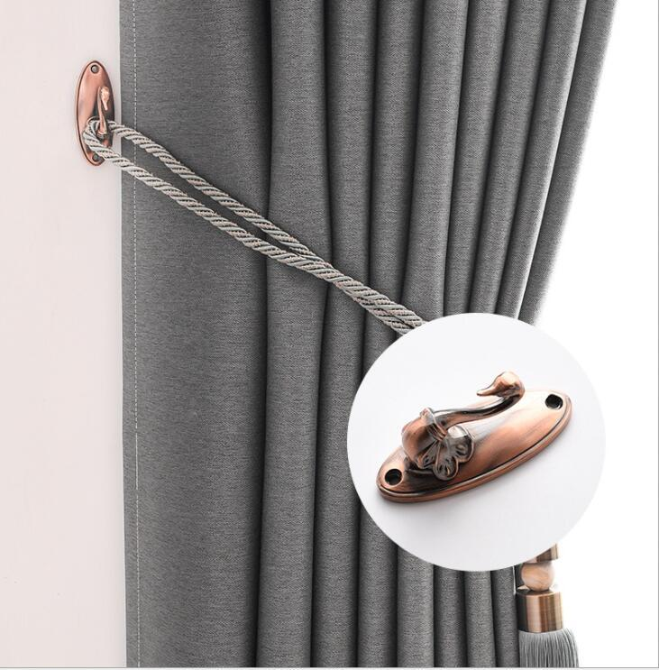 Curtain Tiebacks with Screws Swan Metal Hook Home Decor Wall Hanger 5 Styles Holder Curtains Rope Lanyards for Window Draperies