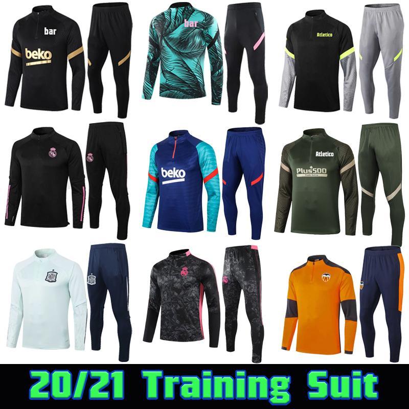 20 21 فالنسيا CF كرة القدم التدريب دعوى 2020 2021 Atletico Football Tracksuit Real Madrid Survetement Chandal Maillot De Foot Kit