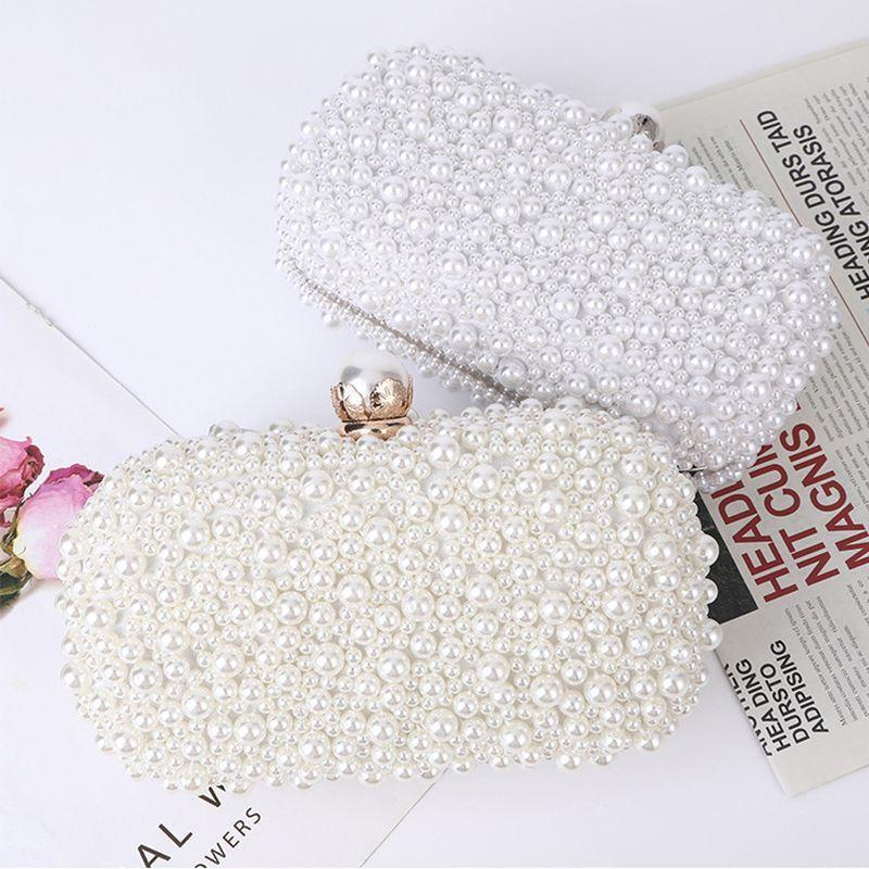 Weiße Perle Hochzeit Kupplungstasche Party Handtasche und Handtasche Damen Abendtasche Luxus Design Kette Umhängetasche ZD1833