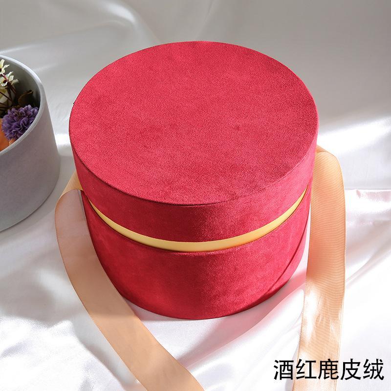 جولة المخملية زهرة هدية التفاف الصندوقات قبعة مع bowknot وغطاء صناديق فاخرة روز باقة ترتيب الهدايا مفاجأة مربع بستنة DIY 2195 v2