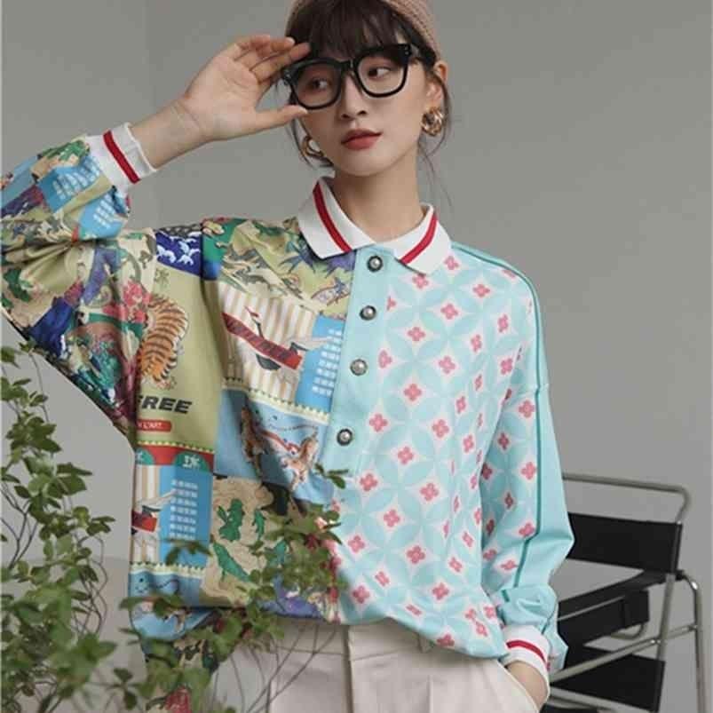 Весной и осенью длинный рукав поло блузки поло женщин свободный китайский стиль сращивание ретро напечатанная рубашка женщины плюс размер женские рубашки 210415