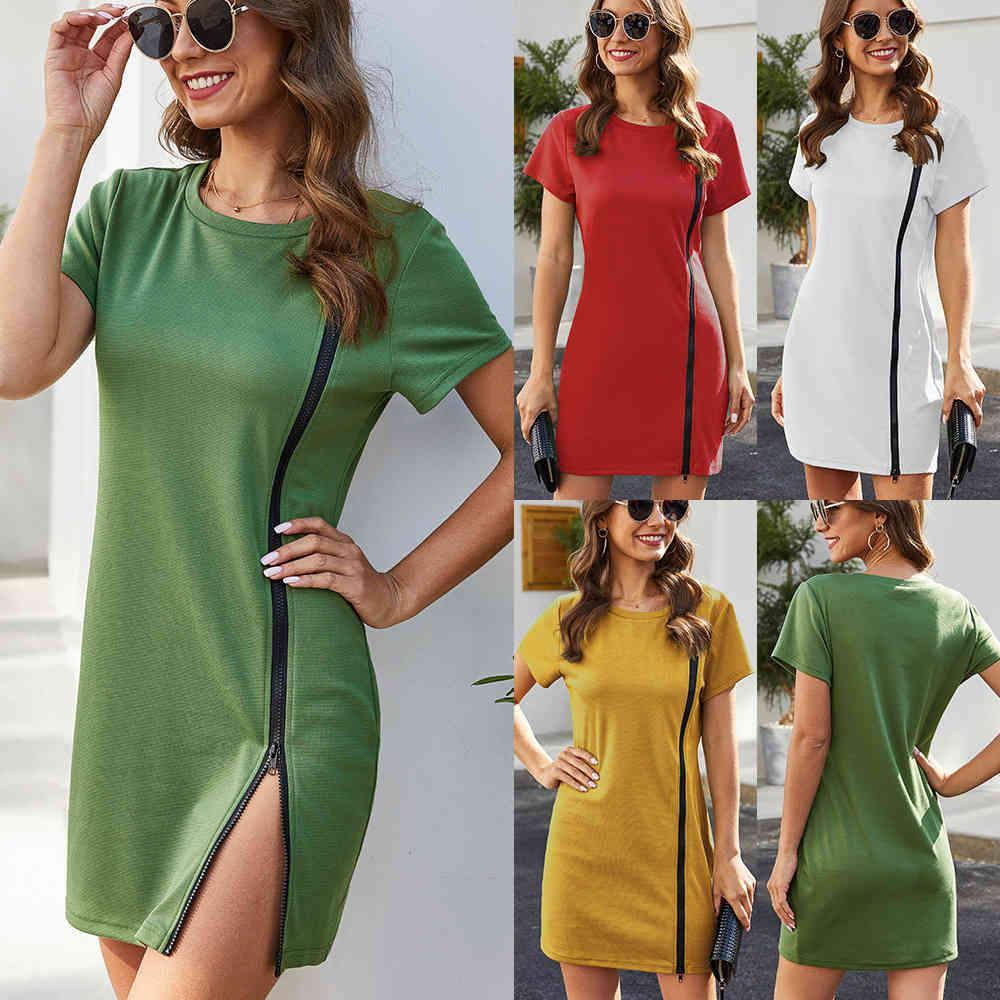 2021 Vestido de mujer de verano Moda Deportes Pista Casual Cuello redondo Manga corta Estirar Slim Fit Hip Plus Tamaño Mini vestido X0521